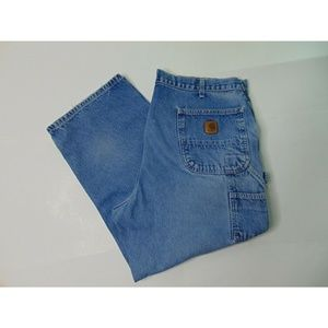 Carhartt 38 Distressed Carpenter Blue Jeans